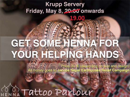 Henna donations, by the Jacobs Nepal Earthquake Relief Campaign